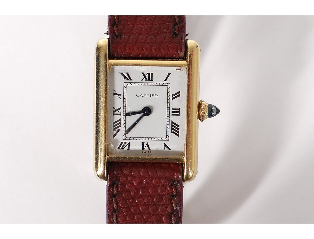 Cartier Solo Tank Ladies Watch 18k Gold Leather Bracelet