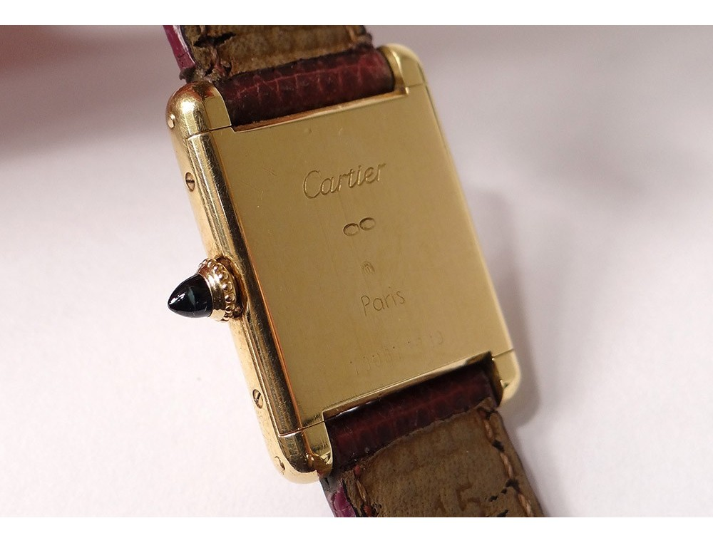 Cartier Solo Tank Ladies Watch 18k Gold Leather Bracelet