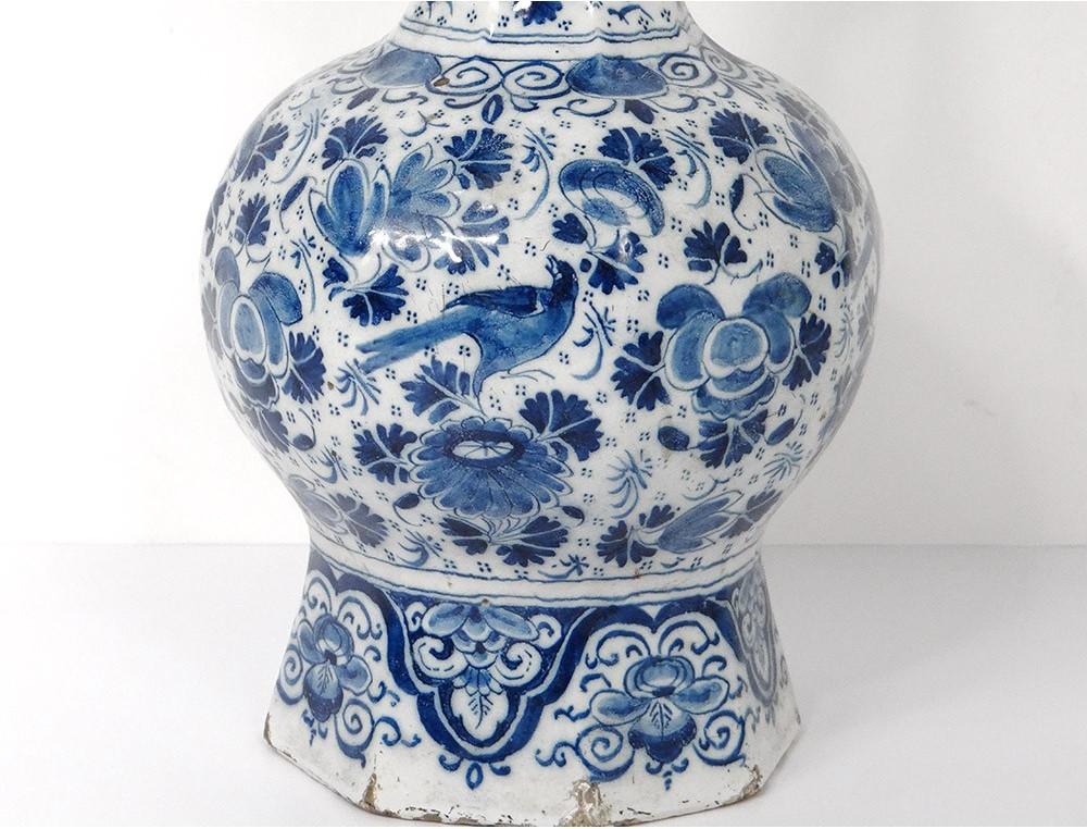 Grape Vase Faience Delft White Blue Birds Flowers Foliage