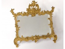 Gilded bronze frame rock mirror ice foliage Napoleon III nineteenth frame