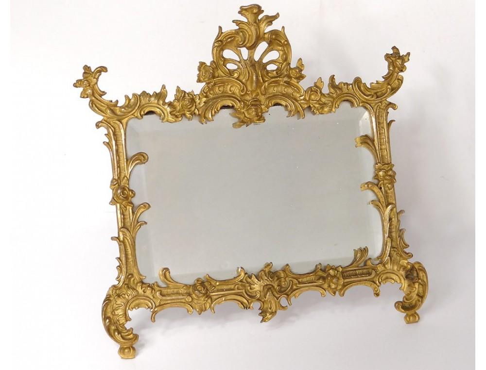 Gilded bronze frame rock mirror ice foliage Napoleon III nineteenth ...