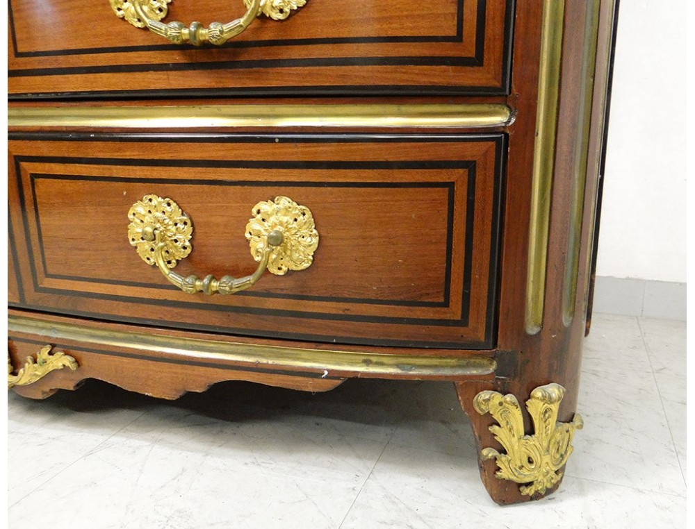 Louis Xiv Commode Marquetry Satin Wood Marble Breche