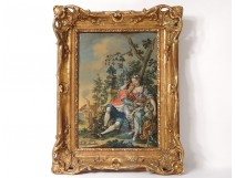 HSP table gallant scene couple bergere landscape romantic painting eighteenth