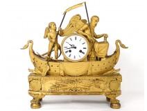Pendulum Travel Love Time swans gilded bronze att. Boizot I Empire nineteenth