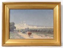 Rare HST tableau orientaliste Emile Boivin paysage Tunisie personnages XIXè