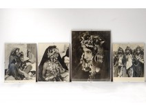 4 photographs Jean Besancenot Africa Morocco costumes children twentieth