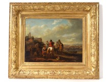 HSP painting characters riders landscape French school painting eighteenth
