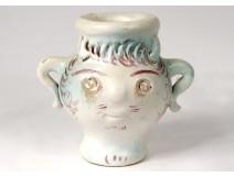 Small anthropomorphic vase George Jouve polychrome ceramic signed twentieth