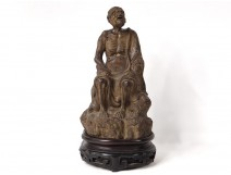 Chinese earthenware sculpture old man beggar China 17th century