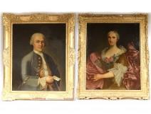 Pair HST noble portraits General Lérivint Fleury Bedane Louis Tocqué 18th