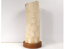 African carved ivory lamp African woman elephant landscape twentieth century