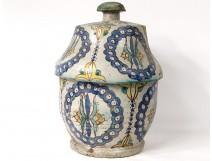 Jobbana polychrome faience butter pot Morocco Maghreb Fez Morocco XIXth