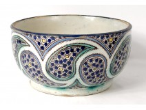 Bowl Harira cut polychrome faience Morocco Fez cashmere Boteh signed twentieth