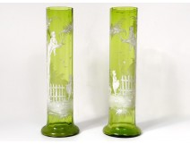 Pair vases glass enamelled mary Grégory kids tree fruit landscape nineteenth