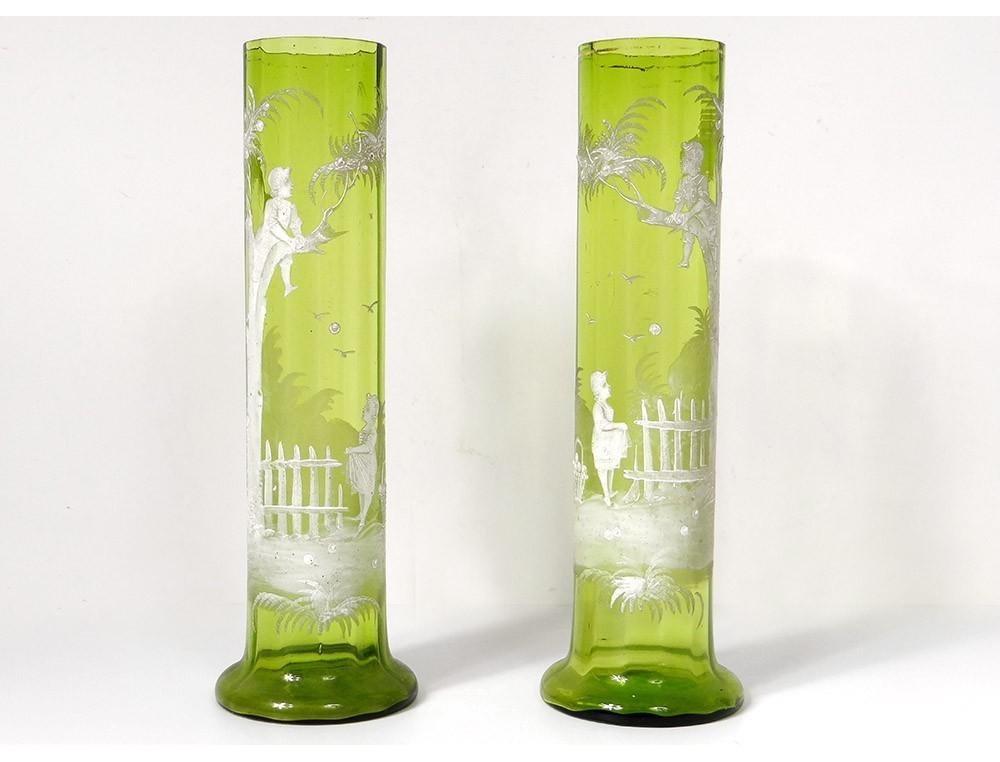 Pair Vases Glass Enamelled Mary Grgory Kids Tree Fruit Landscape