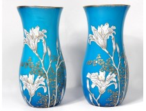 Pair of blue enamelled opaline vases Baccarat lily gilding flowers nineteenth century