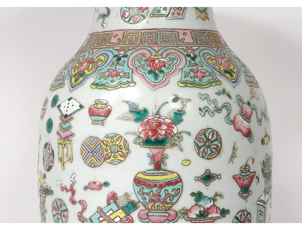 Large Chinese Porcelain Vase Vases Vases Flower Lamps China Signed 19th