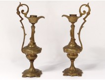 Pair cassolettes candlesticks ewers bronze profile characters snake 19th