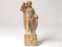 Ancient statuette terracotta woman ancient roman vestale collection