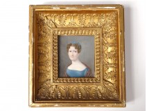 Miniature painted portrait elegant woman Josephine Lhoest stuccoed nineteenth