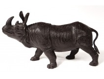 Animal rhinoceros bronze sculpture late nineteenth century