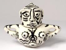 Covered pot sculpture anthropomorphic ceramic Ernst Van Leyden 1952 XXth