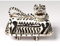 Butter dish ceramic sculpture Ernst Van Leyden animal tiger California 1952