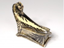 Butter dish ceramic sculpture Ernst Van Leyden bird swan California 1952