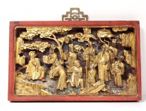 Panel carved bas-relief gilded dignitaries characters China XIX