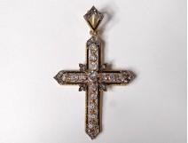 Cross pendant solid gold 18K small roses stones Rhine jewel nineteenth century