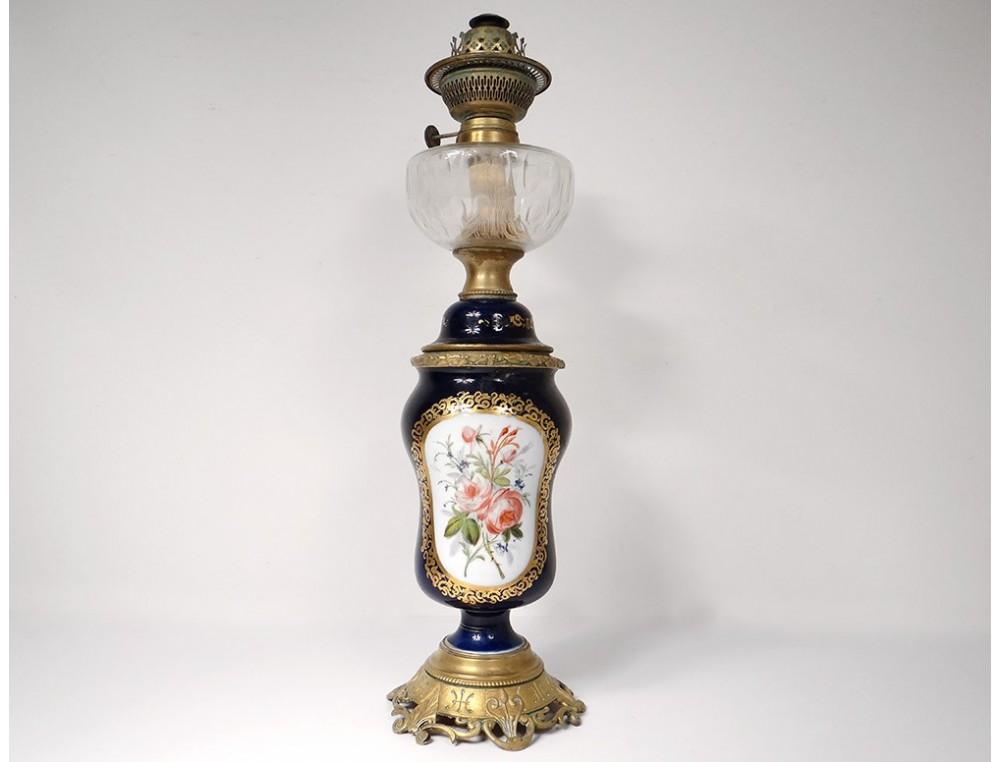 Lampe A Petrole Porcelaine Paris Bouquets Fleurs Bronze Napoleon Iii