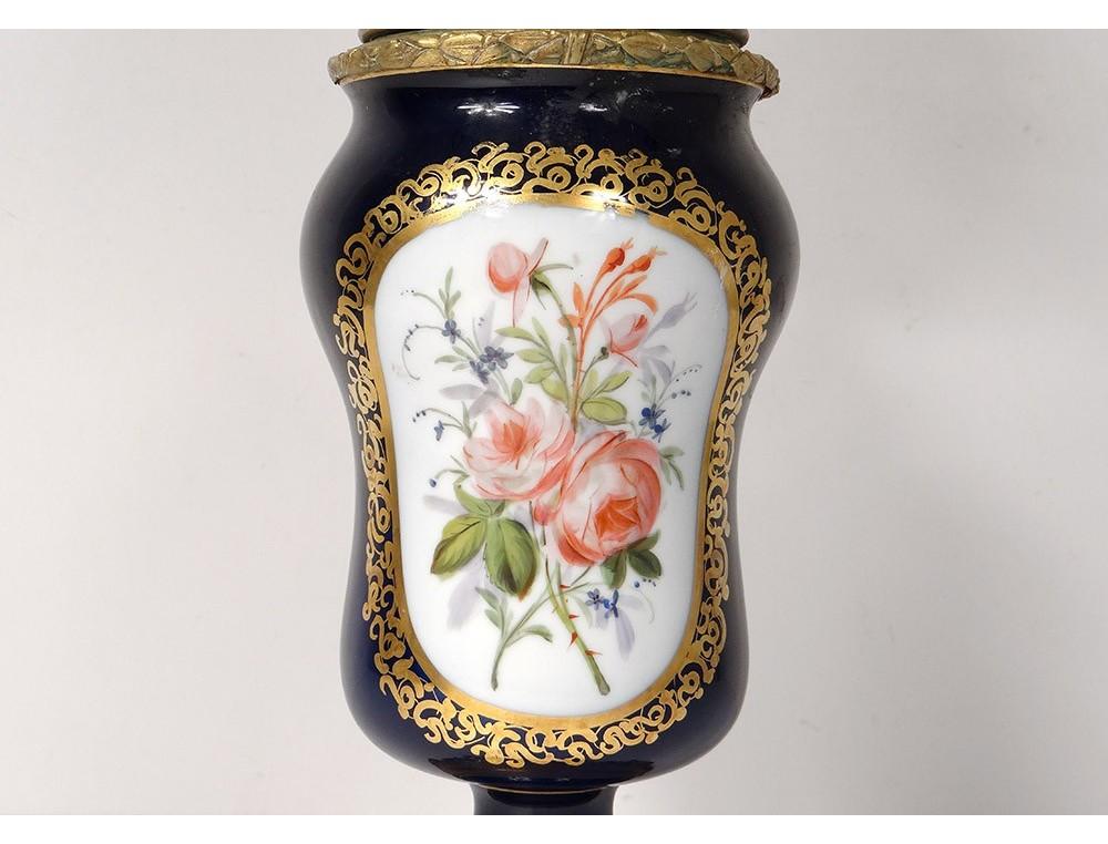 Porcelain Oil Lamp Paris Bouquets Flowers Bronze Napoleon