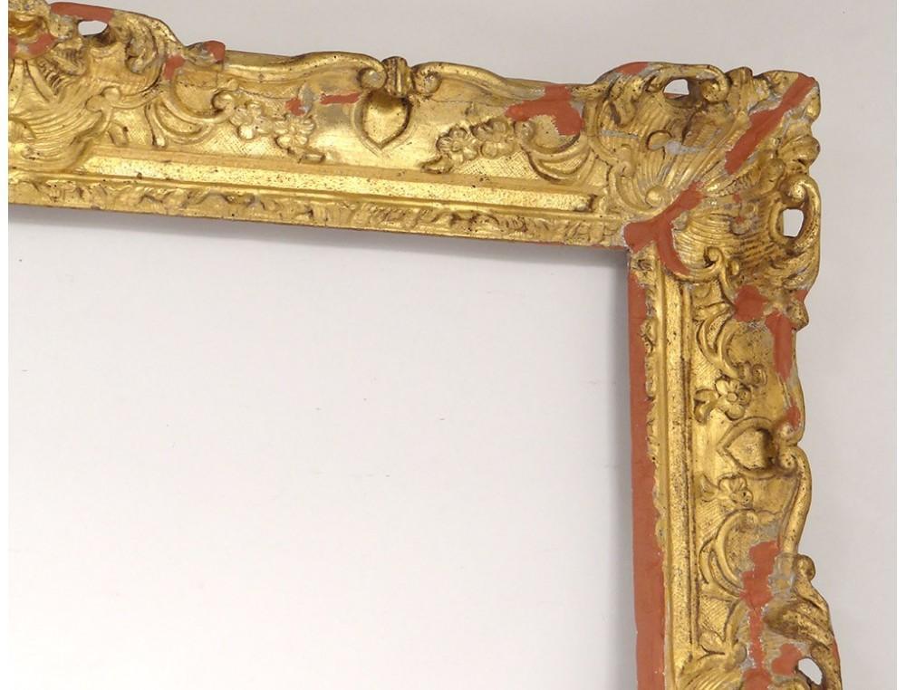 Large Frame Regency Carved Wood Gilded Flowers Antique