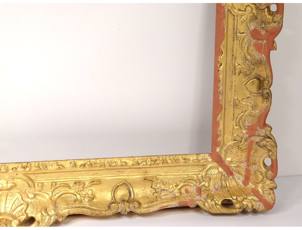 Large Frame Regency Carved Wood Gilded Flowers Antique