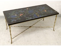 Coffee table Maison Baguès lacquer gilded bronze bamboo peonies birds twentieth