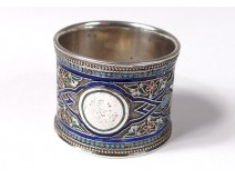 Russian solid silver cloisonné cloisonné enamel ring Moscow 67,48gr nineteenth