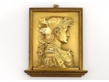 Plate bronze bas-relief profile Sarah Bernhardt Fantastic Art Nouveau 19th