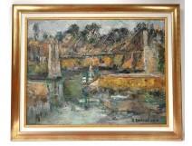 HST painting Georges Ballerat landscape Bono Bridge Morbihan Brittany twentieth