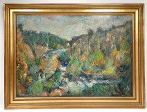 HST painting Georges Ballerat wood landscape Pont-Sal Morbihan Brittany twentieth