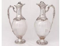 Pair sterling silver ewers crystal Minerva goldsmith Lefebre vine nineteenth