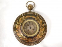 Pendulum round bullseye Charles X painted metal gilding oak clock nineteenth