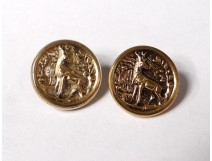 Pair small buttons hunting vénerie gilt metal deer collection XIXth century