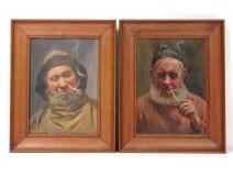 Pair HST paintings Charles Roussel portraits fishermen North France Berck twentieth
