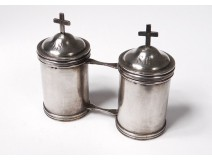 Pair ampoules holy oil catechumen Chrême sterling silver cross nineteenth