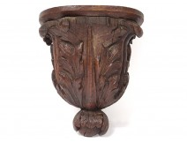 Console wall wood carved acanthus leaves woodwork nineteenth