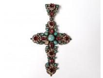 Bressan cross pendant emulsion bressans turquoise cabochons flowers nineteenth