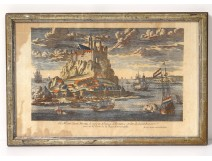 Watercolor engraving Mont Saint-Michel village abbey Aveline seventeenth boats