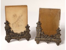 Pair picture frames brass silver chenets ribbons frame nineteenth century