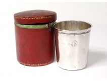 Timbale tumbler solid silver Vieillard Th. Cooper leather case 97gr nineteenth