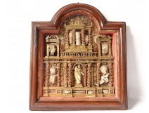 Table reliquary paperolle baroque altarpiece Virgin Saints martyrs XVII
